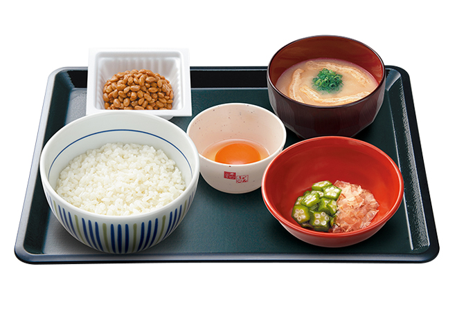 image of Breakfast Set with Raw Egg and Natto