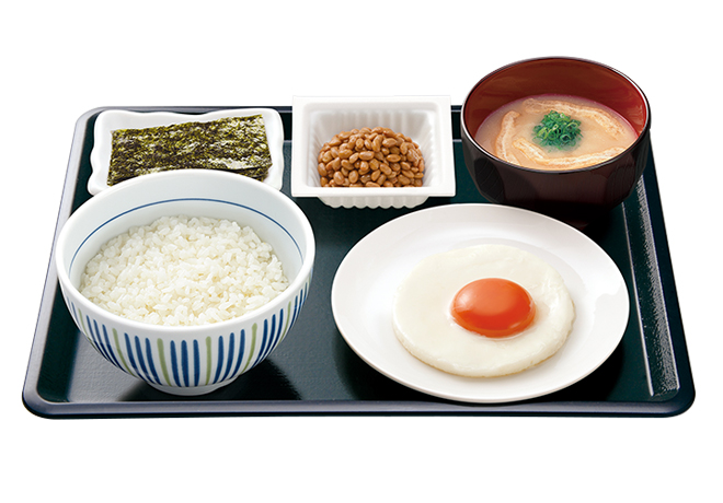 image of Breakfast Set with Sunny-Side-Up Egg and Natto