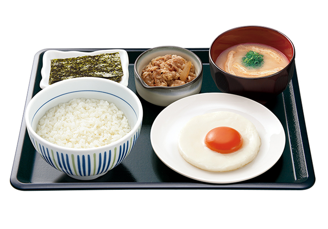 image of Breakfast Set with Sunny-Side-Up Egg and Small Beef Plate